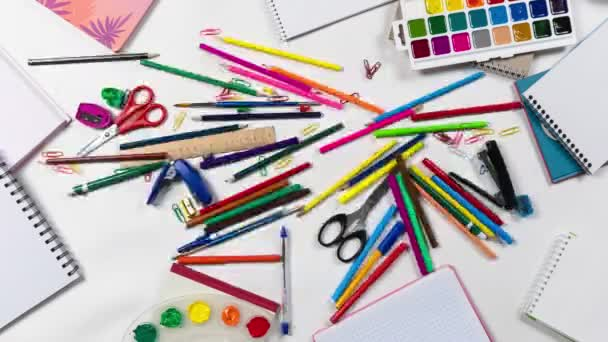 Animation composition of tools for drawing and creativity, stop motion logo intro