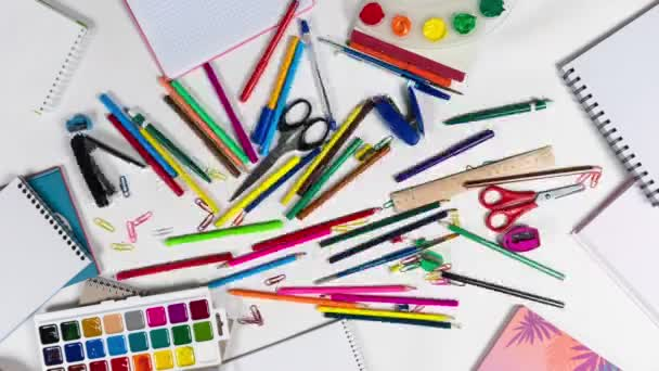 The chaos of stationery for a designer or artist looped stop motion animation