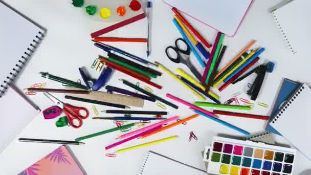 Animation of stationery on the desktop of an designer, logo intro looped stop motion