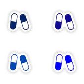 Návrh sestavy realistické nálepka na papíře pilulky