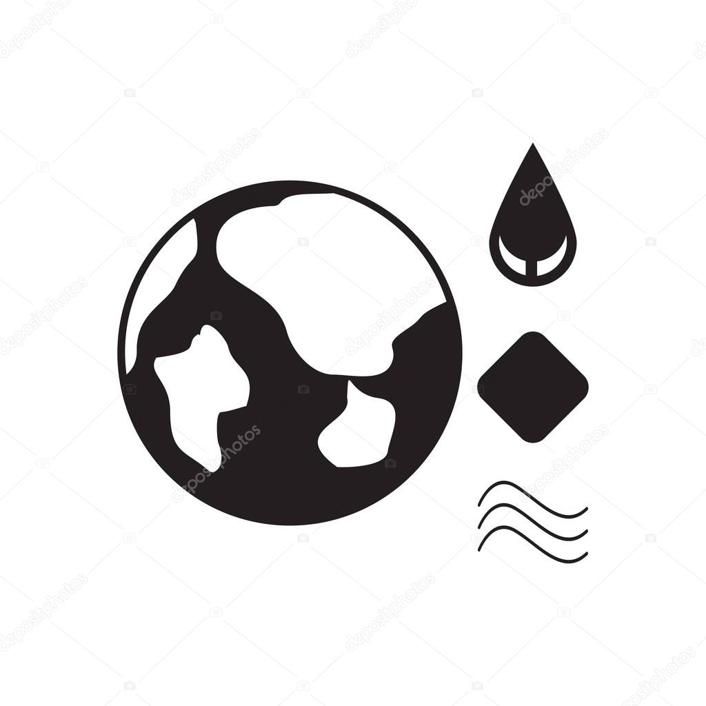 Flat icon in black and white eco Infographic