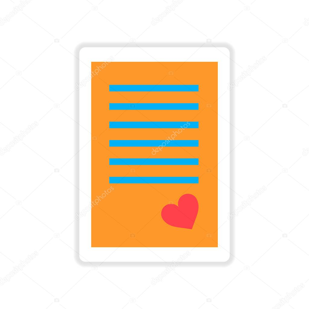 paper sticker on white background love letter