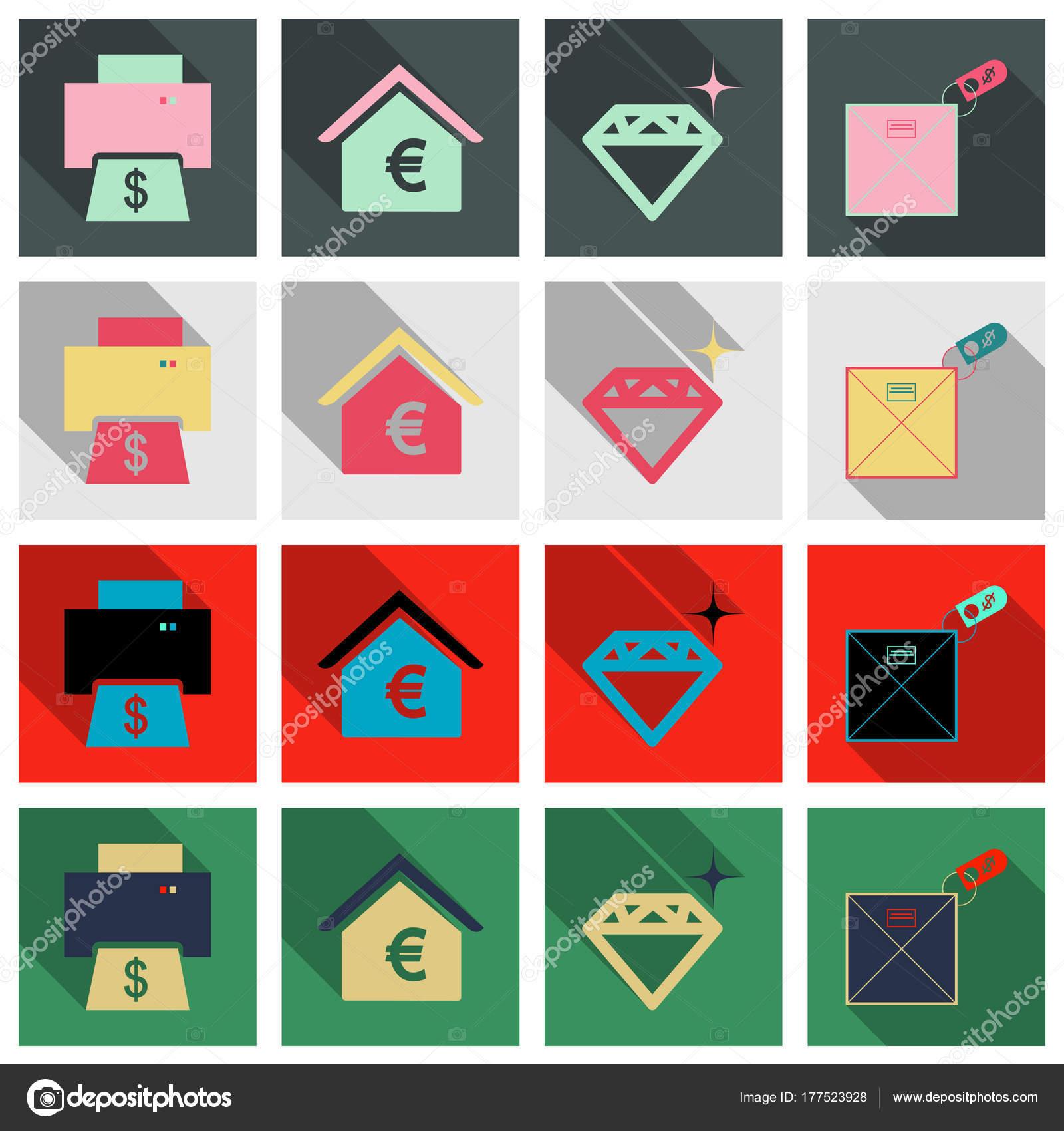 Satz von Unternehmen einfache Symbole. Wirtschaftskonzept im flachen ...