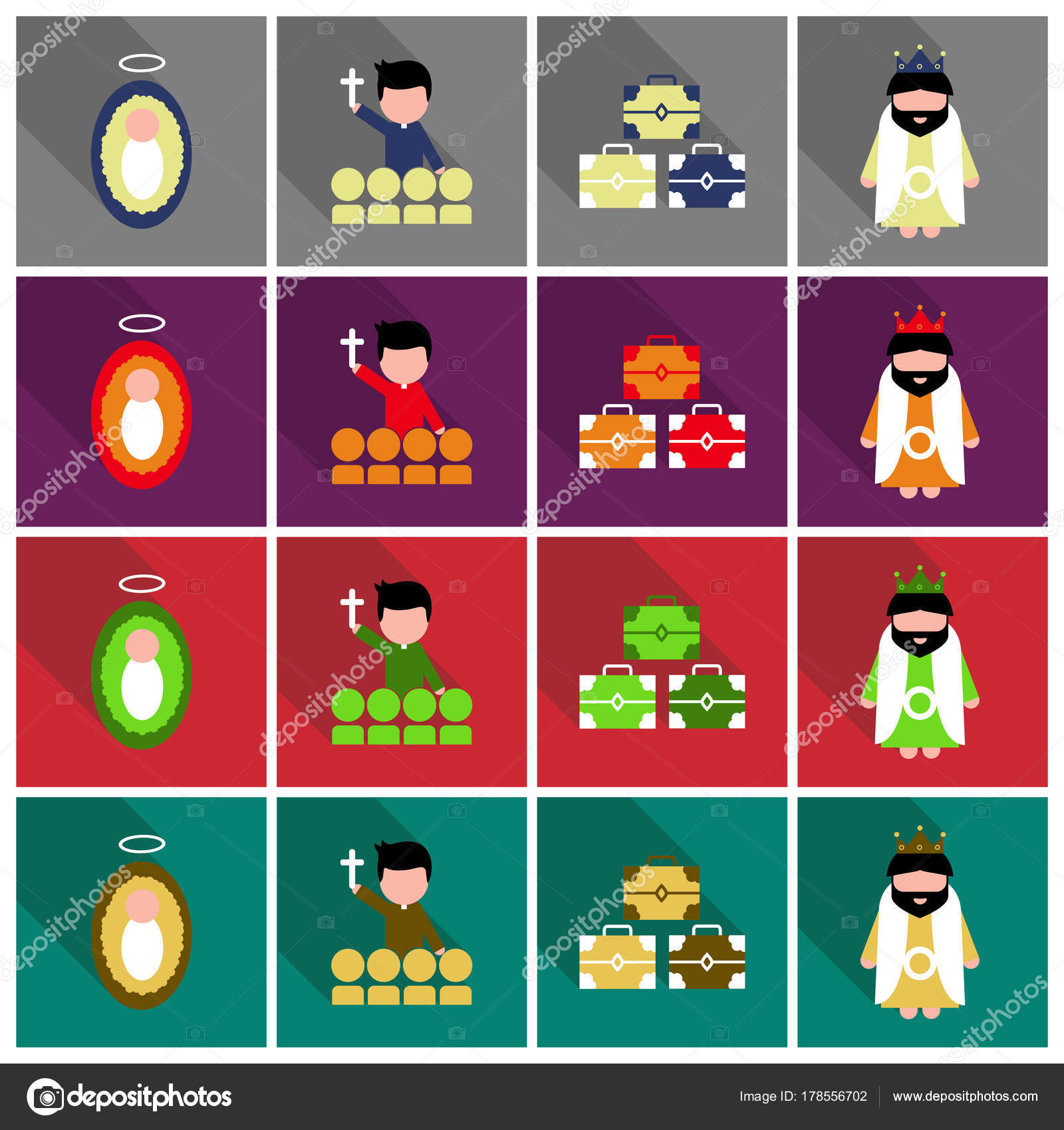 Frohe Weihnachten-Set von flachen Icons. Geburt von Christus ...