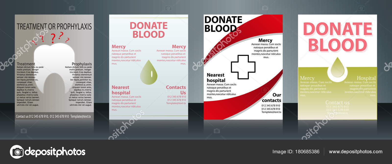 collection of stylish flyers templates or banners for medical and