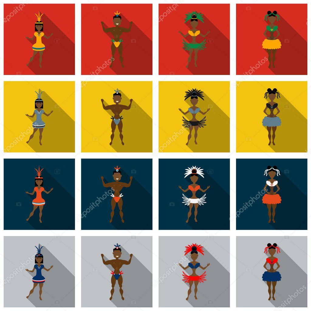 Set of Brazilian samba dancers and carnival masks . Vector carnival girls wearing a festival costume is dancing.