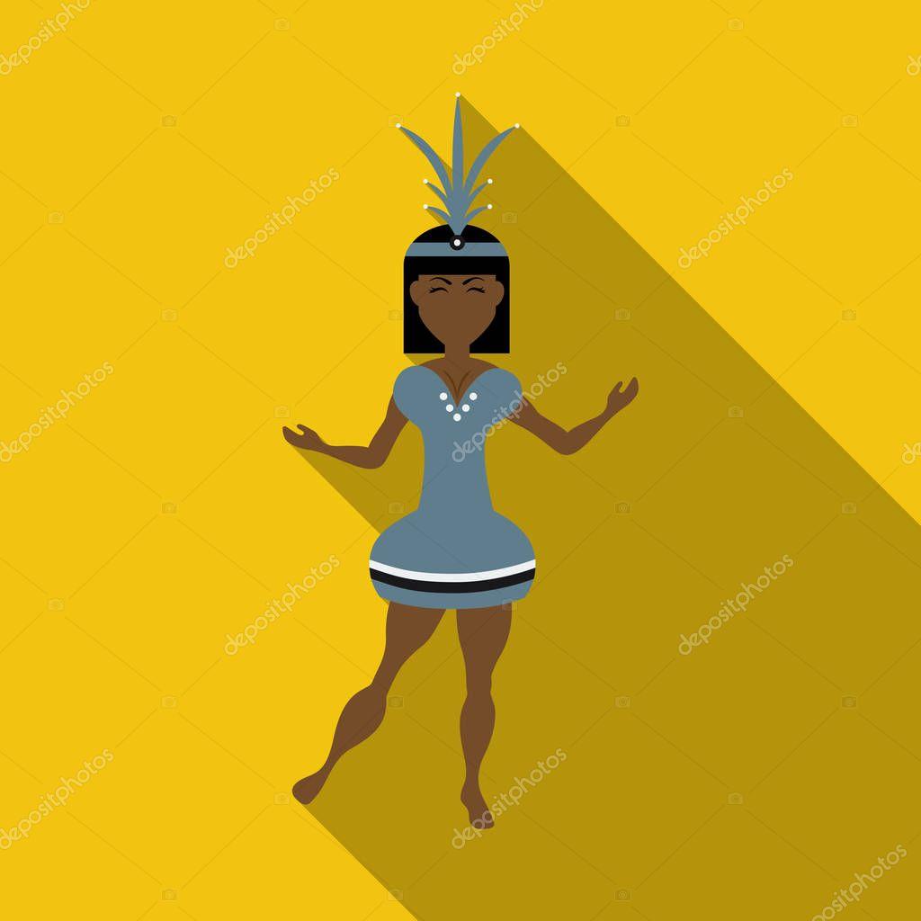 Brazilian samba dancers. Vector carnival girls wearing a festival costume is dancing.