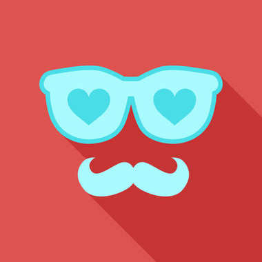 Heart Sunglasses And beard Isolated On White