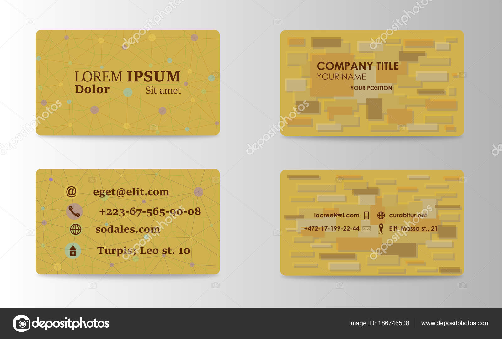 Visiting Card Business Set With Abstract Pattern Vector Corporate Identity Template Simple