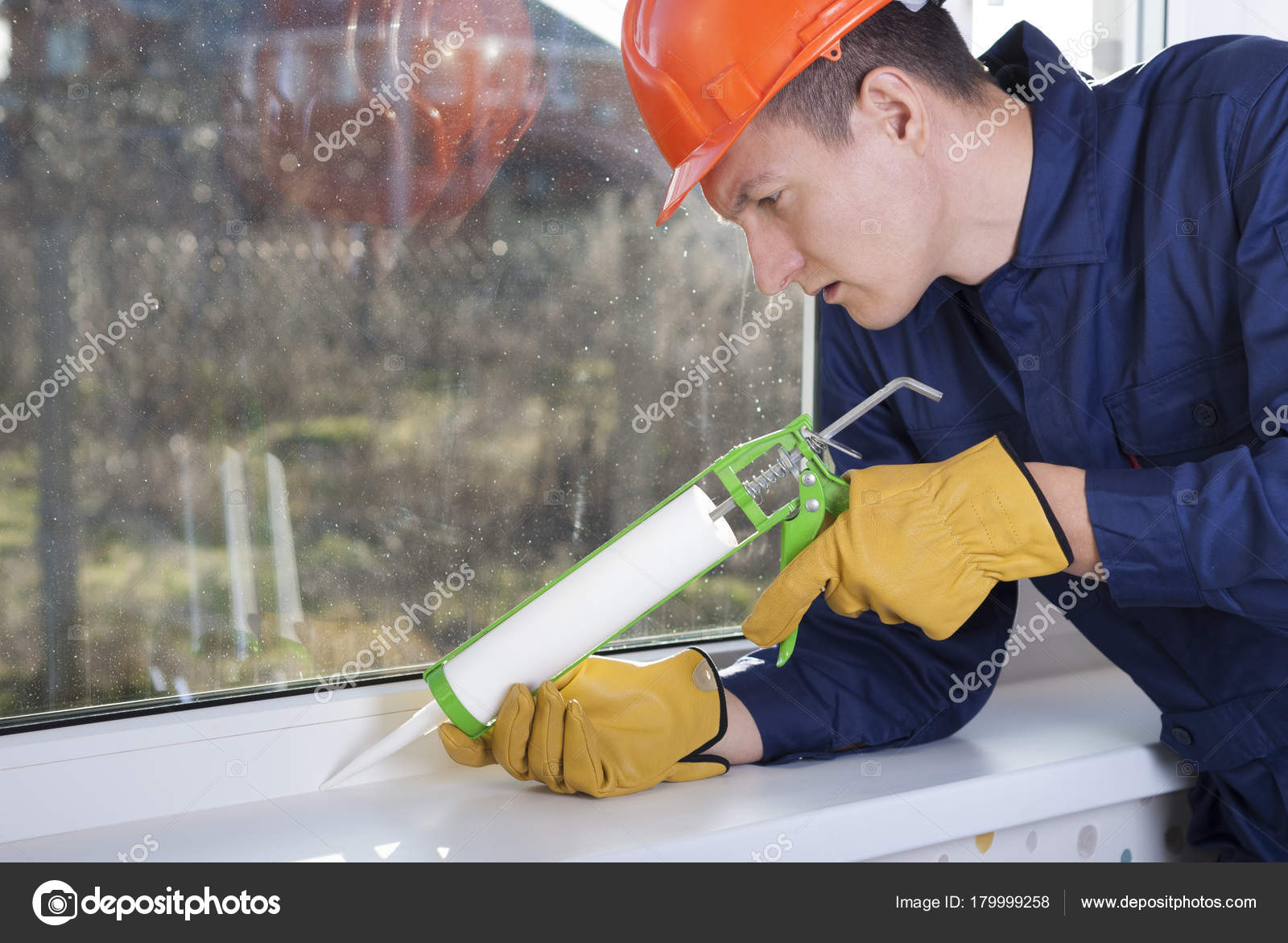 silicone sealant and windows — Stock Photo © mkuchina #179999258