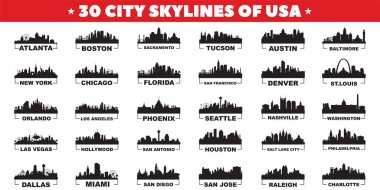 30 city skyline silhouettes of United States of America vector design