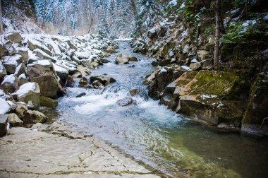 """Картина, постер, плакат, фотообои """"Зимняя горная река и лес"""", артикул 136603936"""
