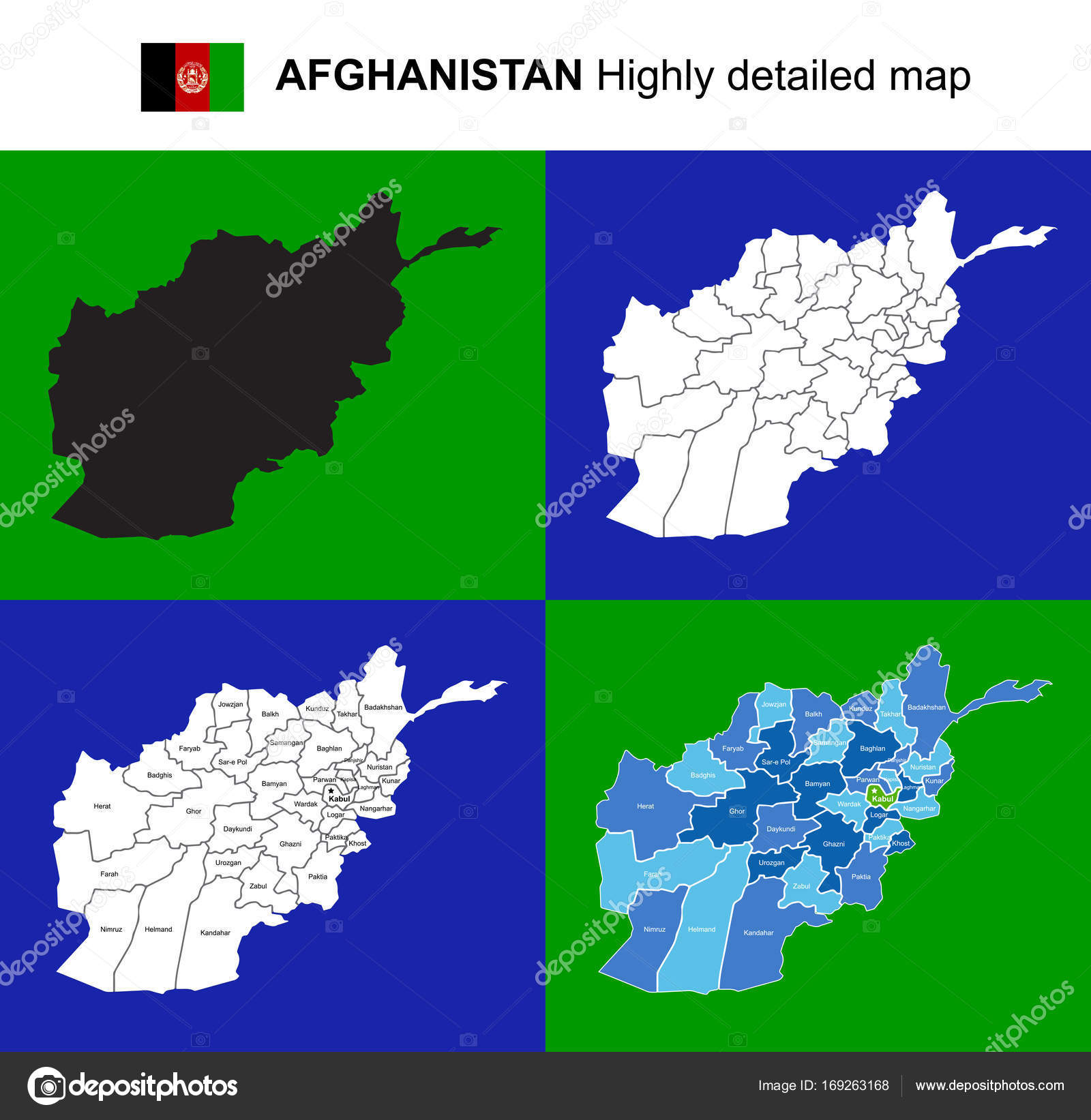 Afghanistan Vector Highly Detailed Political Map With Regions
