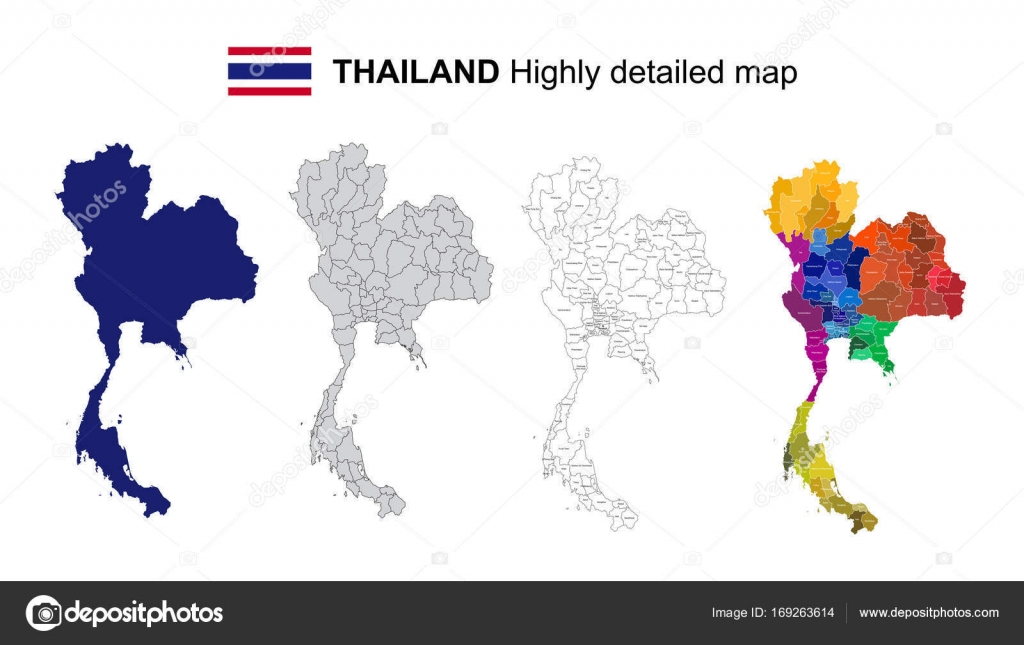Thailand isolated vector highly detailed political map with re thailand isolated vector highly detailed political map with re stock vector gumiabroncs Images