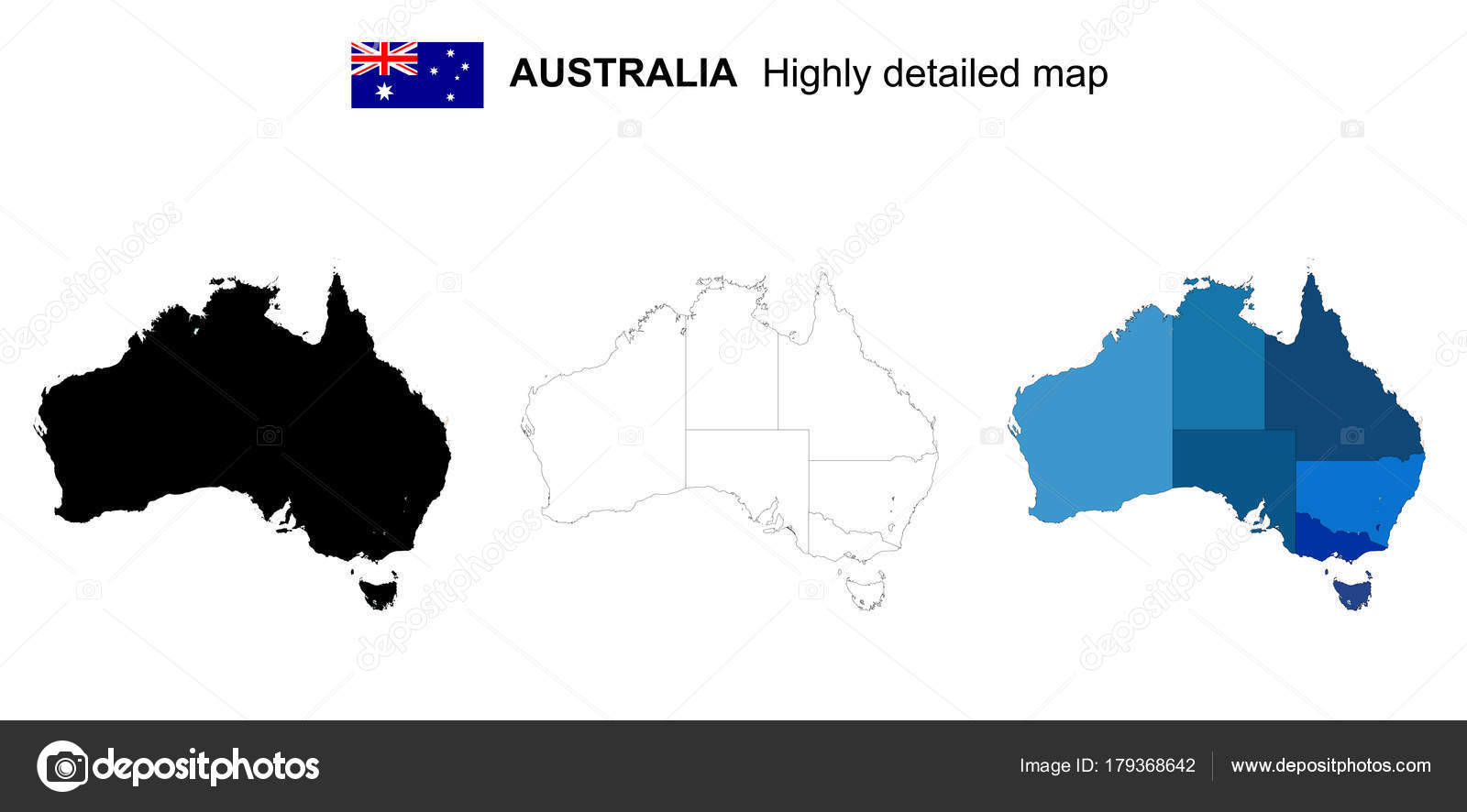 Australia Map In R.Australia Isolated Vector Highly Detailed Political Map With R