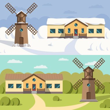 Flat image of rural houses and mills.