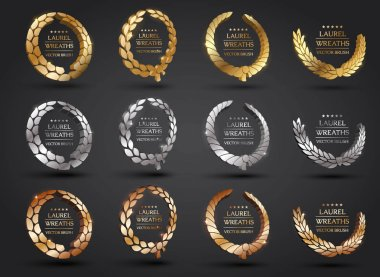 Gold, silver, bronze laurel wreath.
