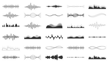Vector sound waves set. Audio Player. Audio equalizer technology, pulse musical. Vector illustration. stock vector