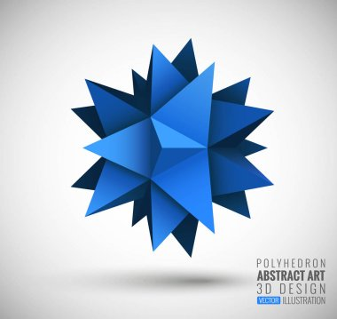 Abstract explosion. Vector polyhedron.