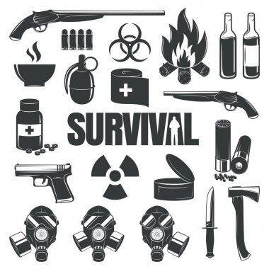 Set of icons on the theme of survival.