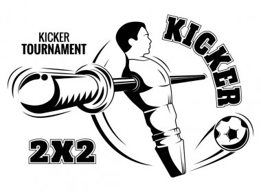 Table football emblem. The kicker is a poster.
