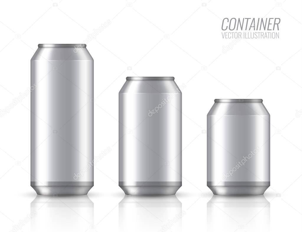 Aluminium bank. Mock up vector illustration.