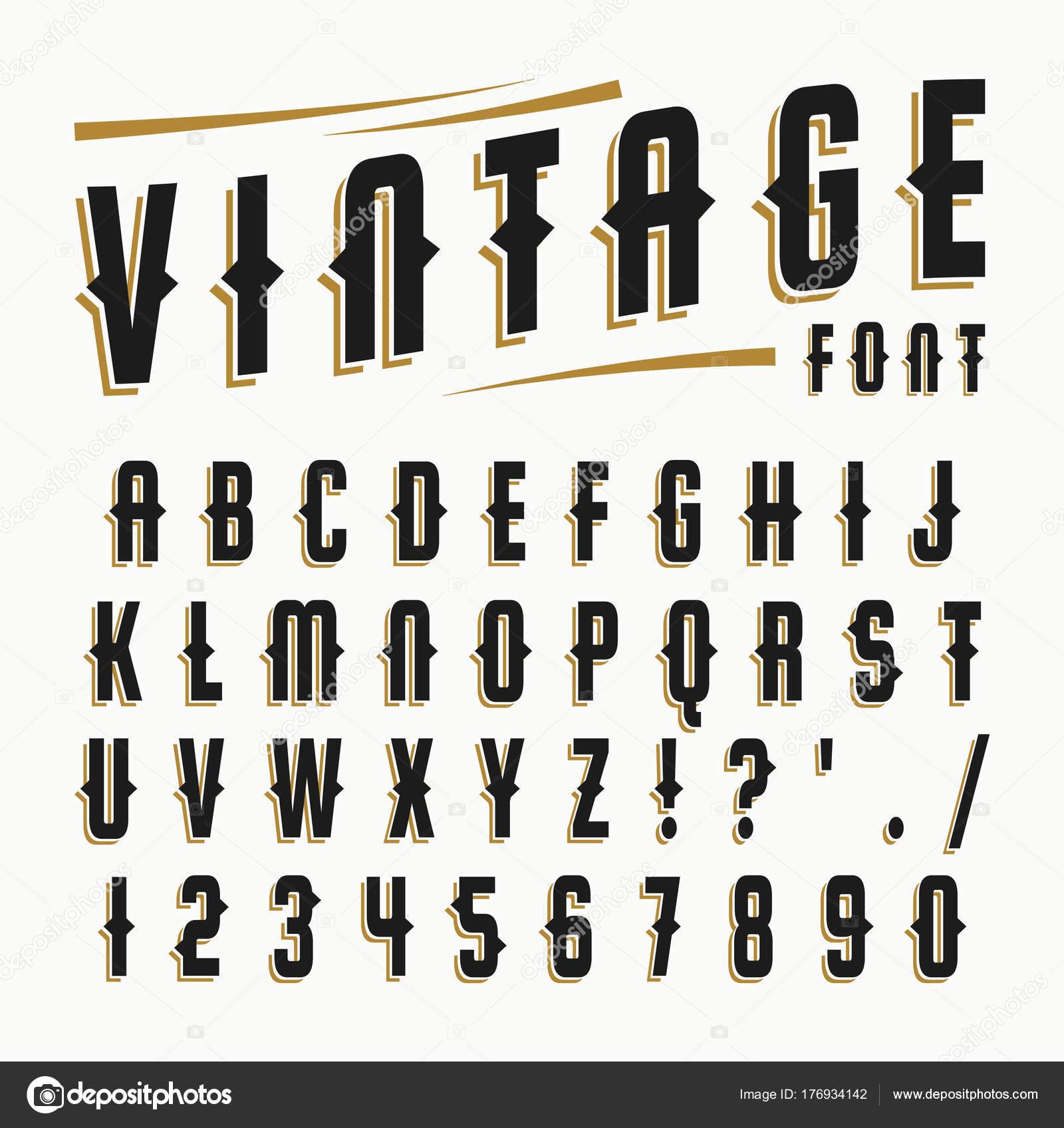 Vector Set Of Vintage Font Stock