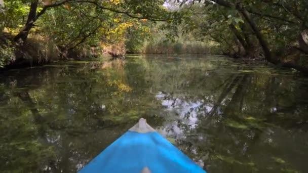 Kajak schwimmt im Waldfluss