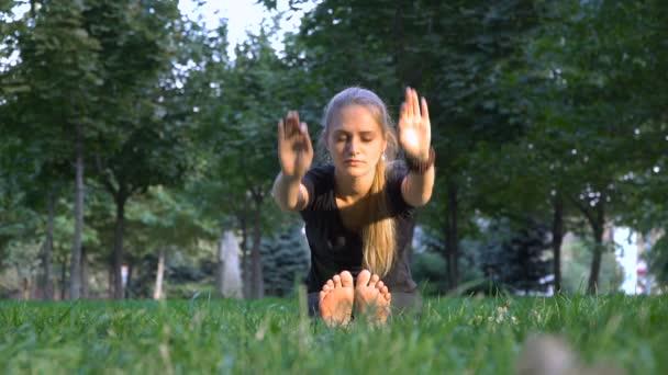 Fiatal lány csinál jóga ül a fűben