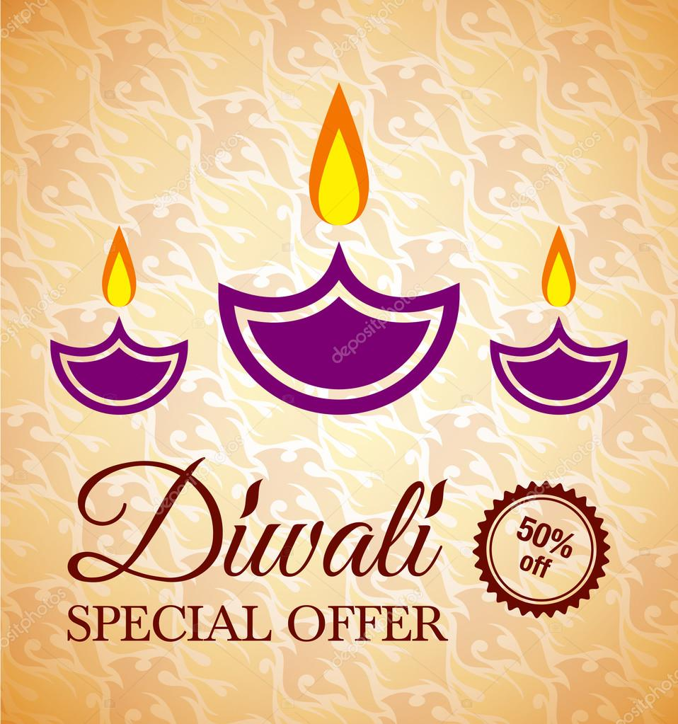 Happy Diwali Greeting Card Background With Indian Lamps Stock