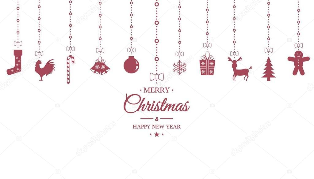 christmas ornament hanging on white isolated background