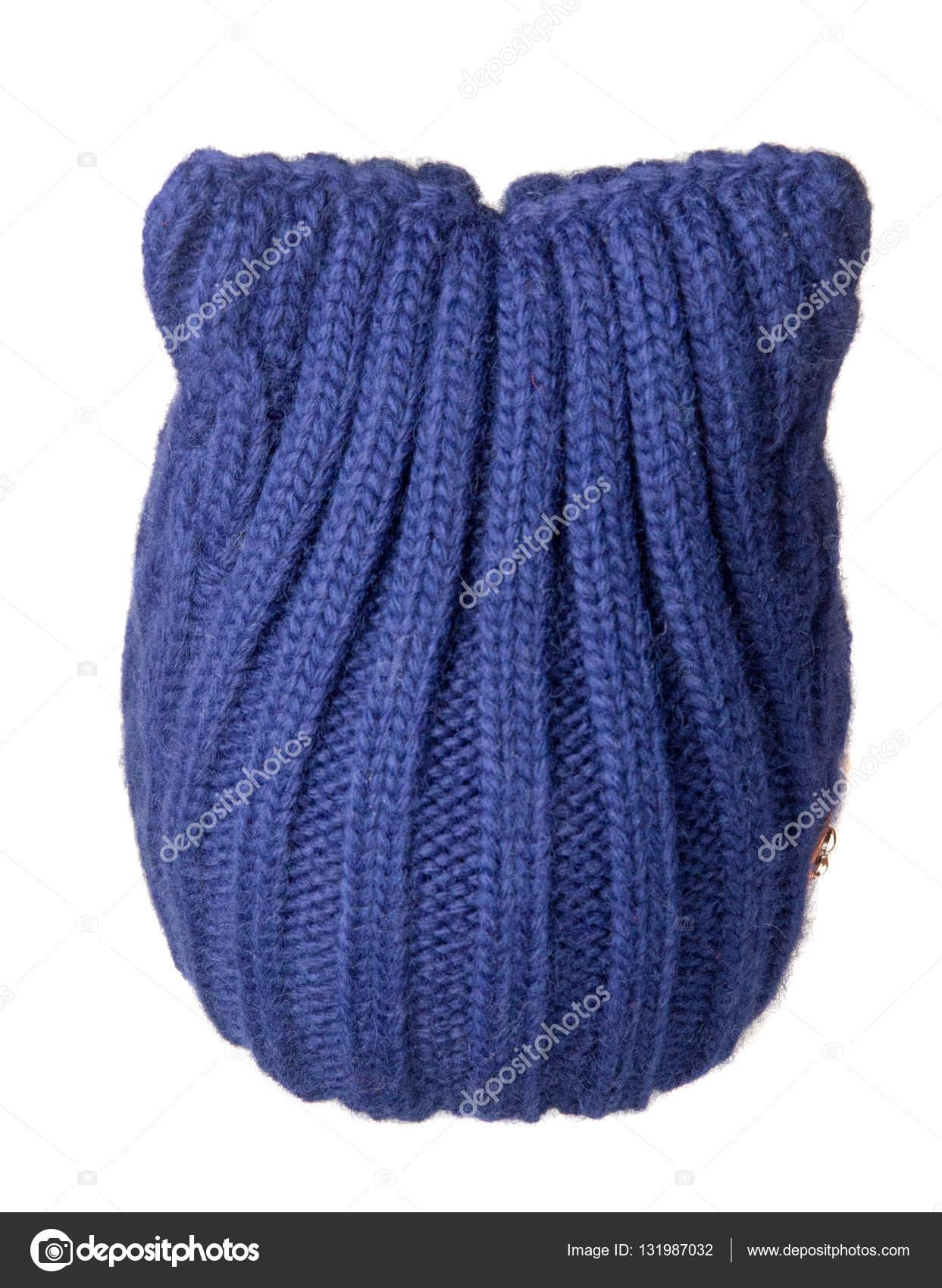 48149016589 Dámská čepice. pletená čepice izolovaných na bílém pozadí. modrá ha– stock  obrázky