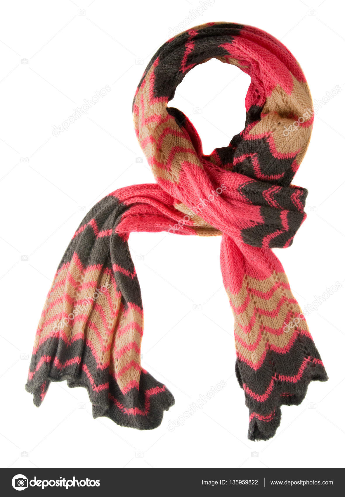601a4b2f7 Scarf isolated on white background.Scarf top view.red beige b — Stock Photo