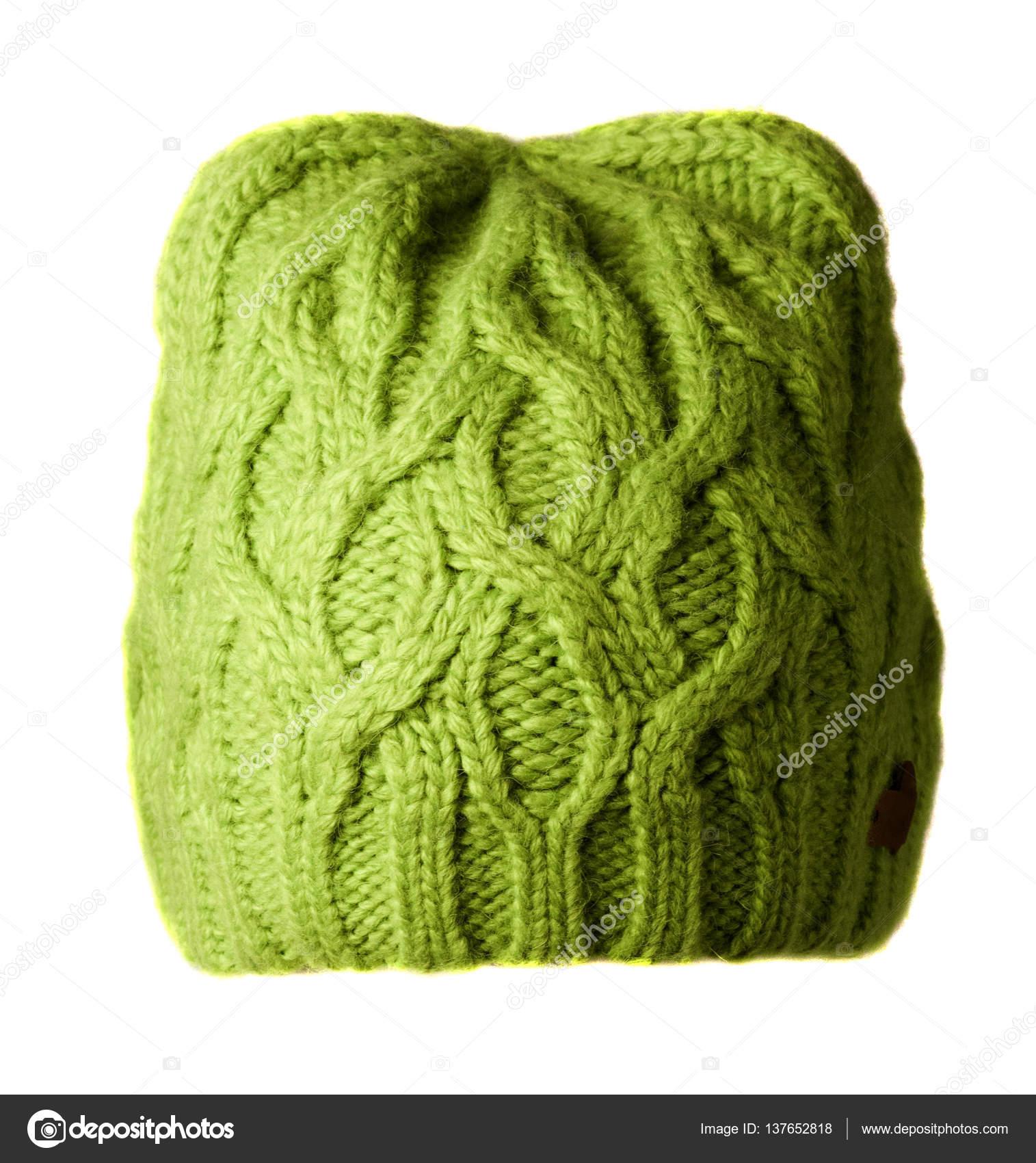 dcf1e9d69453 Γυναικείο καπέλο. πλεκτό καπέλο που απομονώνονται σε λευκό πράσινο  background.light καπέλο — Εικόνα από ...