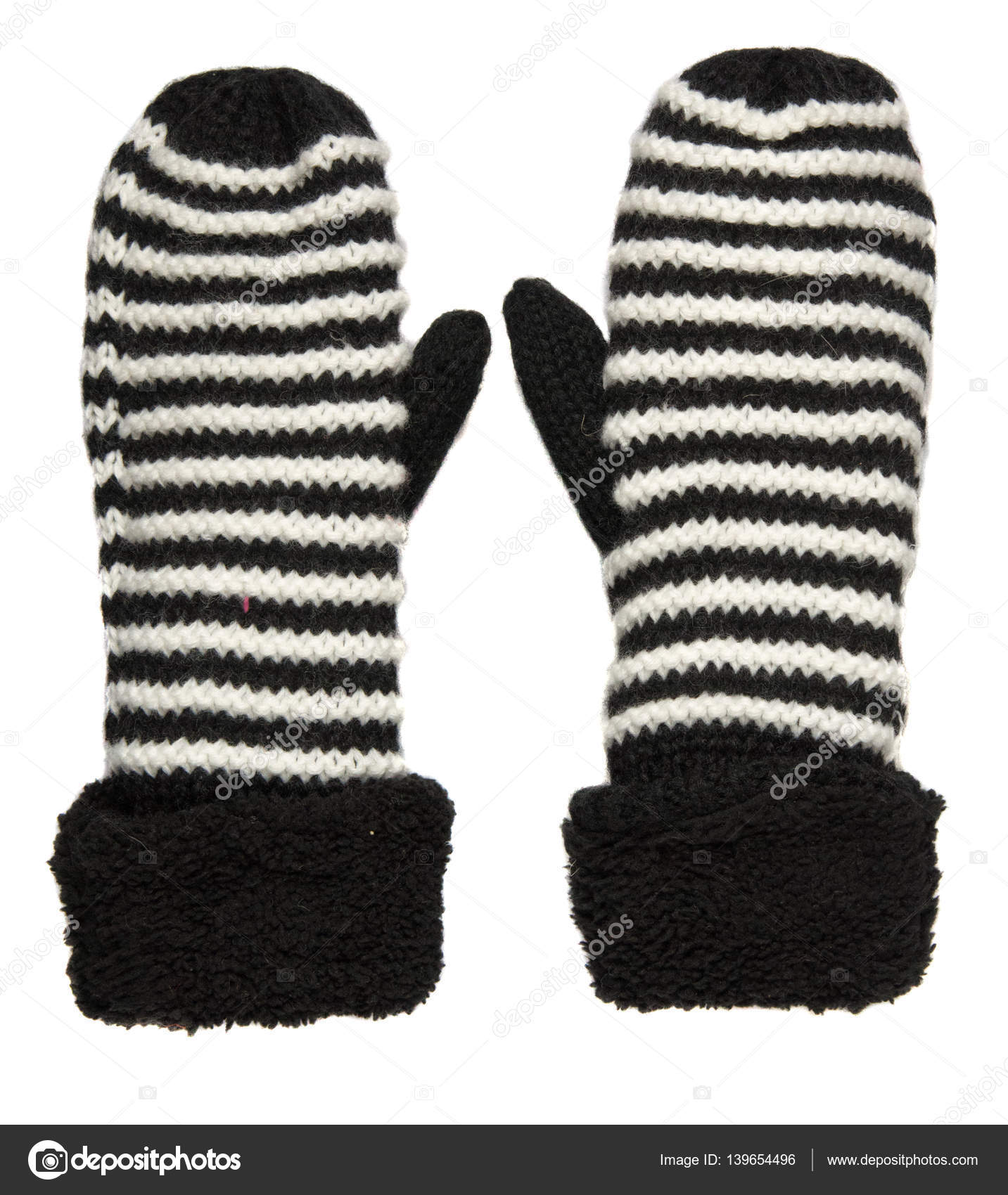 Mitten isolated on white background. Knitted mittens. Mittens to ...
