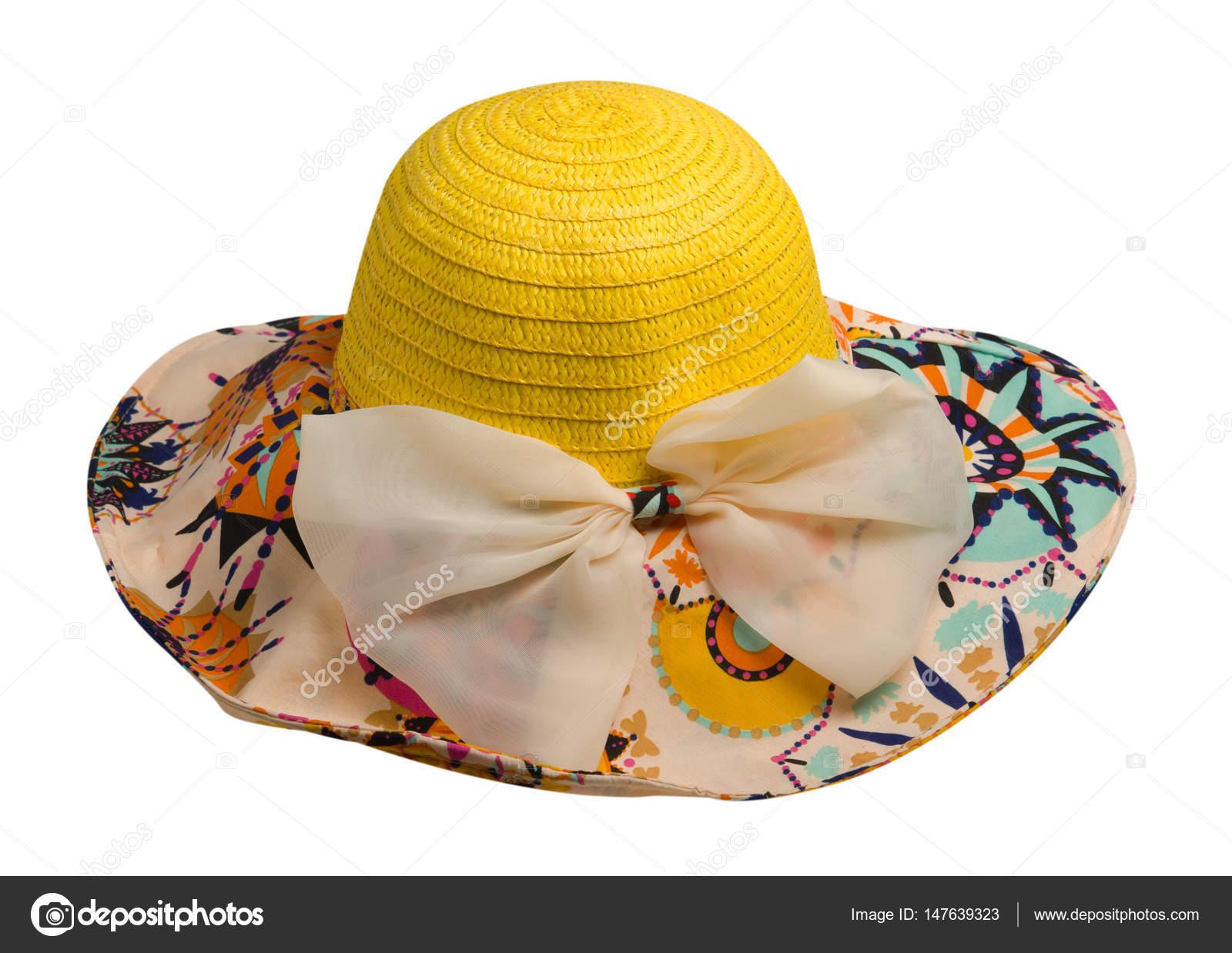 f3360ee50a Γυναίκα καπέλο που απομονώνονται σε λευκό φόντο. Κίτρινο γυναικών παραλία  .women καπέλο του καπέλο παραλία με φιόγκο — Εικόνα από ...