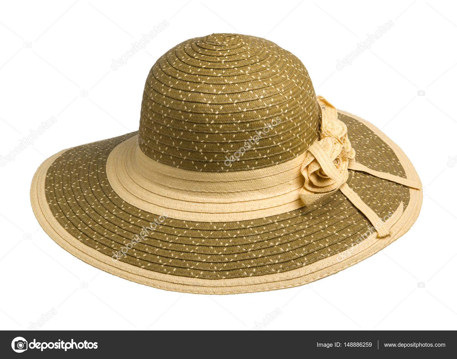 49c6c58ae7 Γυναίκα καπέλο που απομονώνονται σε λευκό φόντο. Παραλία καπέλο των γυναικών.  πολύχρωμο καπέλο — Εικόνα από ...