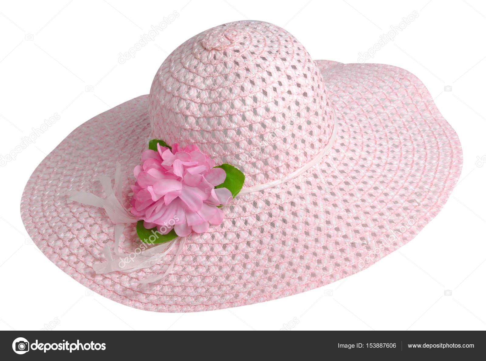 881e97b76e Γυναίκα καπέλο που απομονώνονται σε λευκό φόντο. Παραλία καπέλο των γυναικών.  ροζ καπέλο — Εικόνα από ...