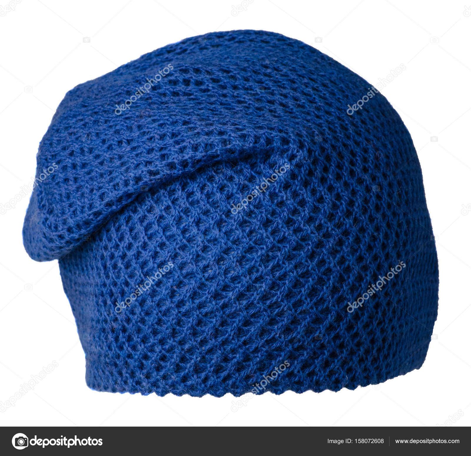 2b832a9f6b5 Dámská čepice. pletená čepice izolovaných na bílém background.blue klobouk  — Fotografie od ...