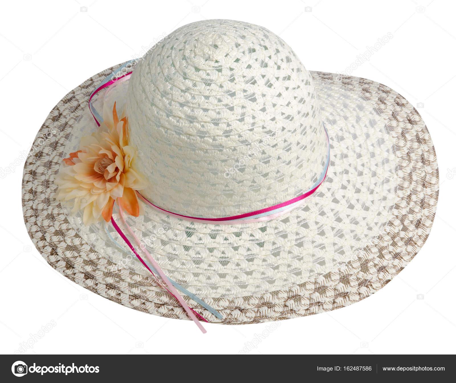 sombrero de mujer aislado sobre fondo blanco. Sombrero de playa de ...