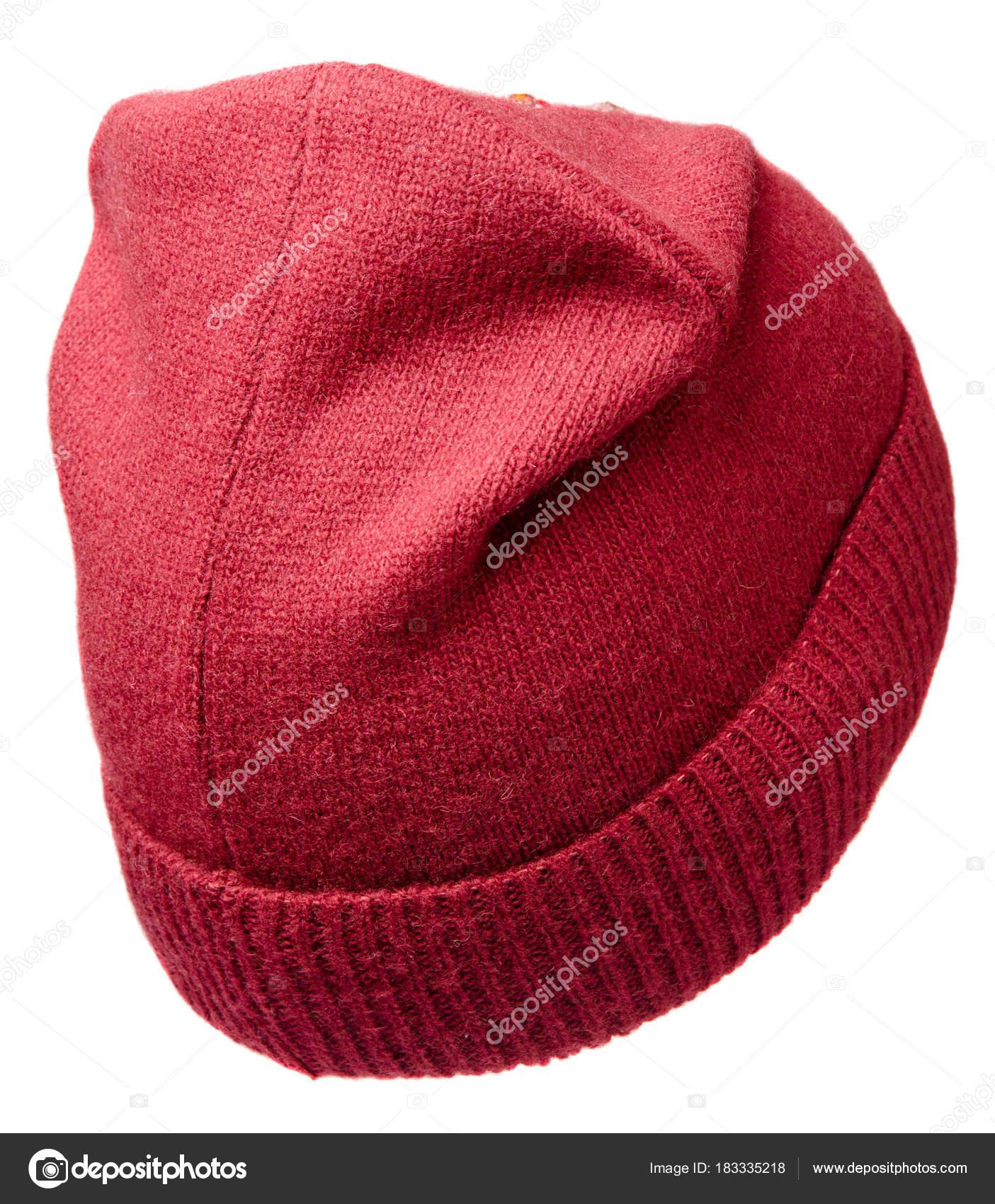 fac45655e6 Γυναικείο καπέλο. πλεκτό καπέλο που απομονώνονται σε λευκό φόντο — Εικόνα  από ...