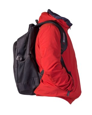 black backpack dressed in a red jacket isolated on a white background. rear view of a backpack and jacket