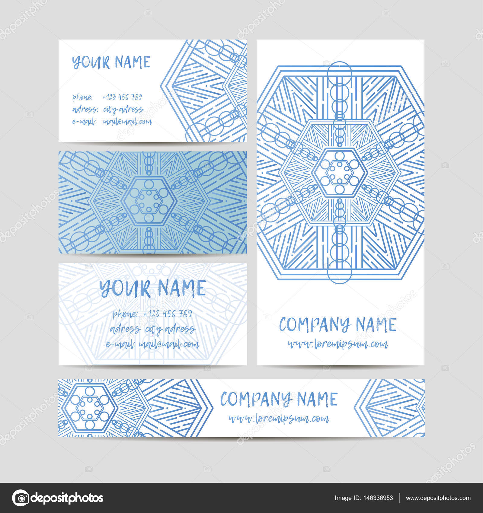 Vintage decorative elements. Business Cards and banners. Oriental ...