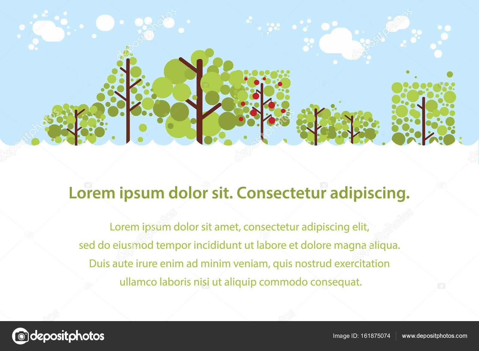 夏の森のフラット背景あなたのデザインのシンプルでかわいい風景