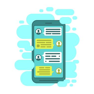 Compose dialogues using samples bubbles. Smart Phone chatting sms template bubbles.