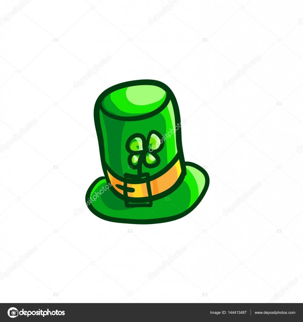 Sombrero de duende de día de San Patricio. Sombrero verde con ramillete de  trébol de cuatro hojas. Elemento de diseño en vectores 7b57a3a7534c