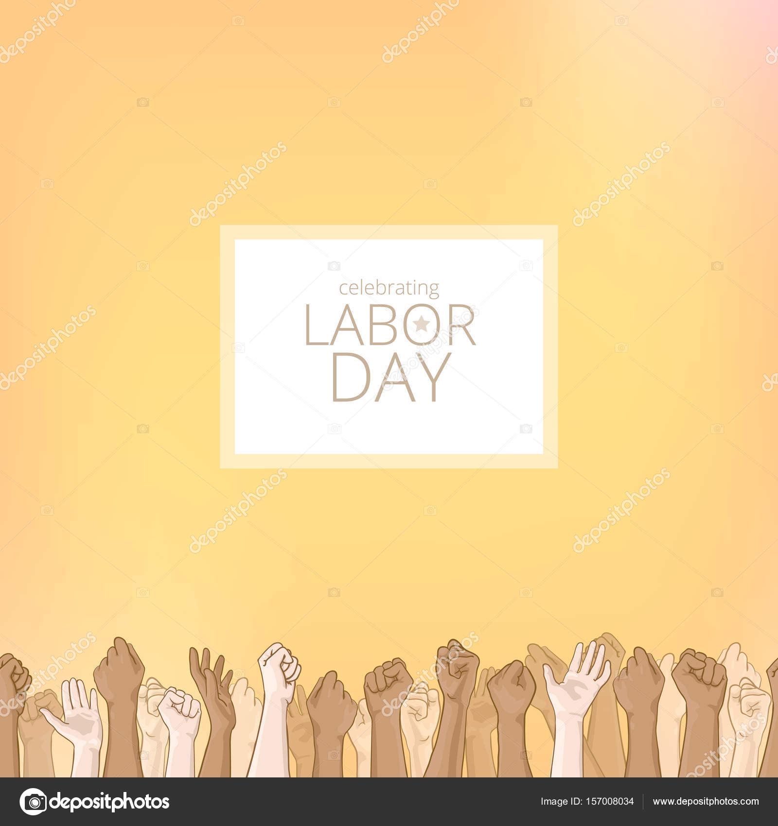 Labor Day Background Card With Seamless Border Stock Photo