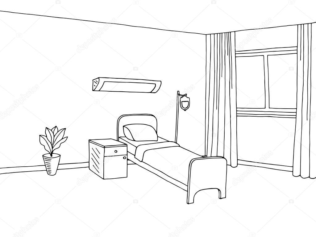 hospital ward clinic room interior graphic art black white sketch rh depositphotos com Bedside Hospital Sketch hospital room sketchup