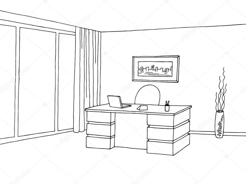 Vector De Ilustración De Oficina Habitación Interior Gráfico Dibujo