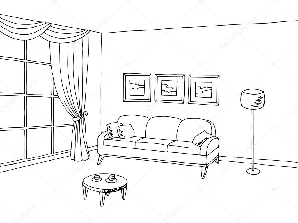 Interior Design Line Art Vector : 客厅里内部黑色白色剪影图矢量 — 图库矢量图像 aluna
